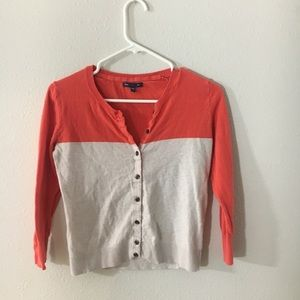Gap two toned Button Up cardigan sweater XS coral